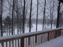Winter view from the deck of Alpine Snow Cabin.