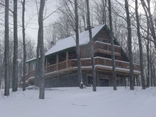Front view of Alpine Snow Cabin in Gaylord Michigan.